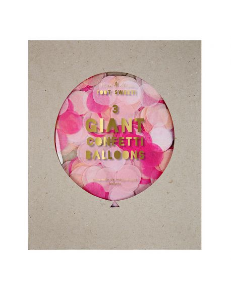 Meri Meri - 3 Ballons Géants à Confetti - Rose