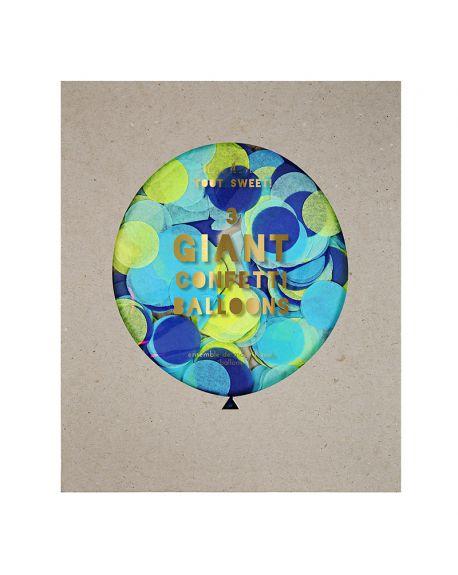Meri Meri - 3 Ballons Géants à Confetti - Bleu