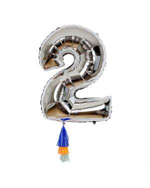 Meri Meri - Ballon chiffre 2 et 3 pompons