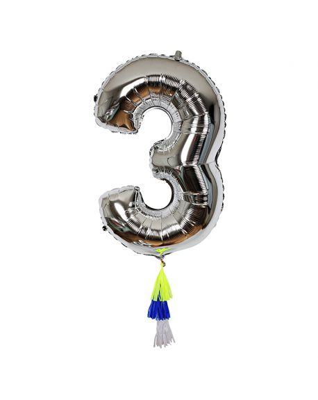 Meri Meri - Ballon Chiffre 3 et Pompons