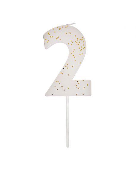 Meri Meri - 1 Sparkling White Number Candle - 2