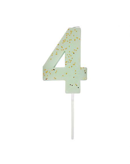 Meri Meri - 1 Sparkling Mint Number Candle - 4