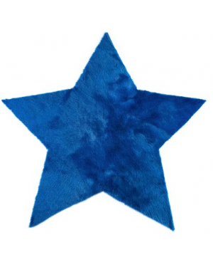 PILEPOIL - STAR RUG IN FAKE FUR - Ocean blue