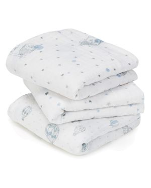 ADEN & ANAIS - Musy-langes Night Sky Hiboux Bleus - Lot de 3