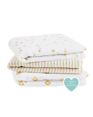 ADEN & ANAIS - Musy-langes Metallic Gold - Lot de 3