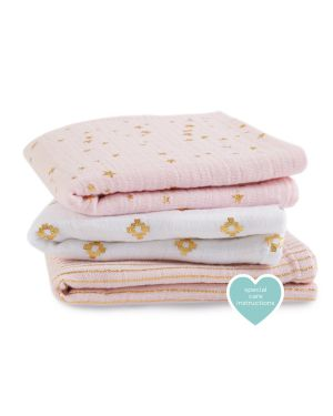 ADEN & ANAIS - Musy-langes Metallic Primrose & Gold - Lot de 3