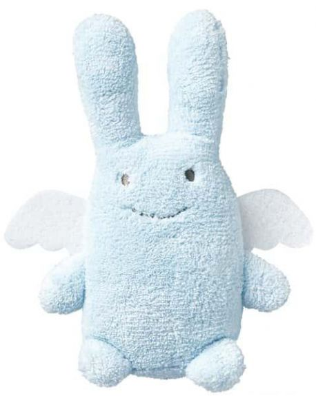 TROUSSELIER - Rattle Rabbit with angel wings - Blue 12 cm