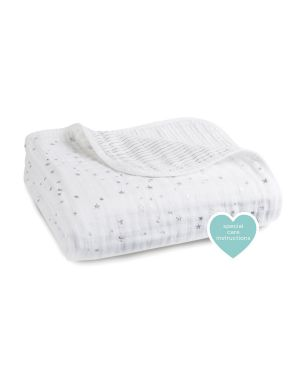 Aden & Anais - Dream Blanket lovely Print - Light Pink and White