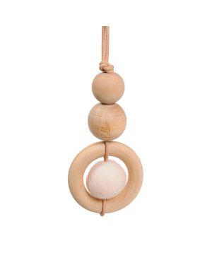 LOULLOU - Suspension perle en bois & laine - Blanc