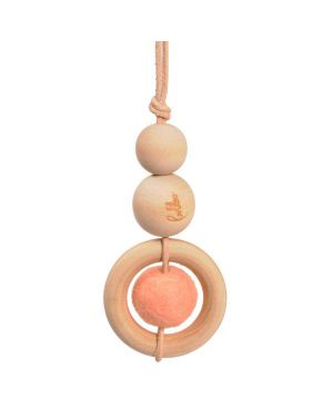Suspension perle en bois & laine - Rose - Loullou