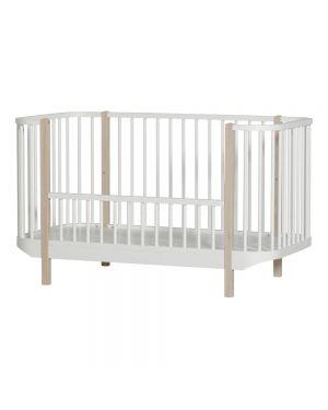 Oliver Furniture - Wood Cot - White/Oak - 70x140 cm