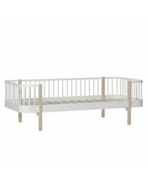Oliver Furniture - Lit Banquette 90x200 cm - Blanc/Chêne