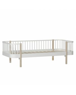 Oliver Furniture - Lit Banquette - Blanc/Chêne - 90x200 cm