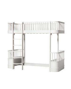 Oliver Furniture - Lit Mezzanine avec 2 bancs - Blanc - 90x200 cm
