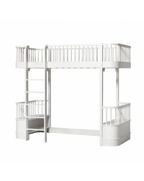 Oliver Furniture - Wood Low loft bed - White/Oak - 90x200 cm