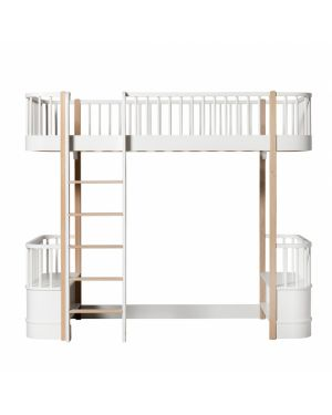 Oliver Furniture - Wood Low loft bed with 2 benches - White/Oak - 90x200 cm