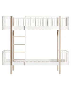 Oliver Furniture - Lit Superposé échelle face 90x200 cm - Blanc/Chêne