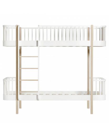 Oliver Furniture - Lit Superposé echelle face - Blanc/Chêne- 90x200 cm