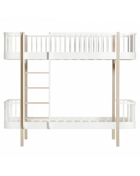 Oliver Furniture Wood Low Loft Bed With 2 Benches White Oak 90x200