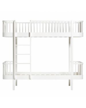 Oliver Furniture - Wood bunk bed / Ladder front - White - 90x200 cm