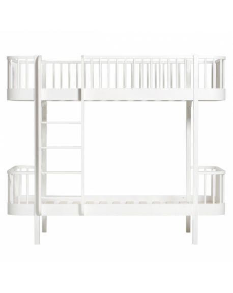 Oliver Furniture - Lit Superposé echelle face - Blanc - 90x200 cm