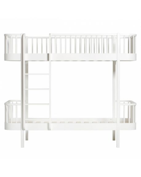 Oliver Furniture - Wood bunk bed / Ladder front - White/Oak - 90x200 cm