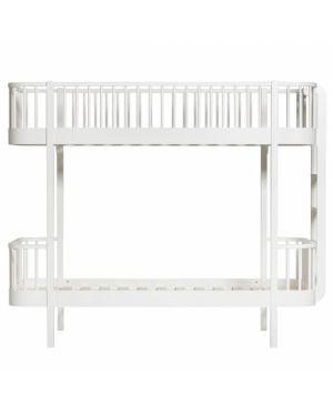 Oliver Furniture - Wood bunk bed / Ladder end - White - 90x200 cm