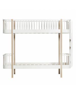 Oliver Furniture - Wood bunk bed / Ladder end - White/Oak - 90x200 cm