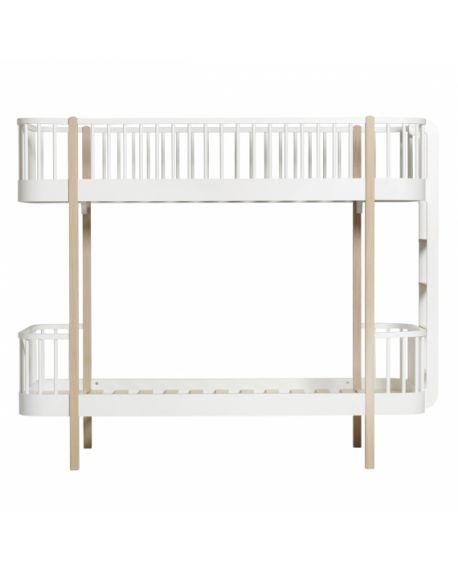 reputable site 8d49e 0ac17 Oliver Furniture - Wood bunk bed / Ladder end - White/Oak - 90x200 cm