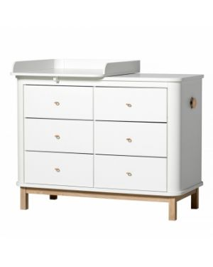 Oliver Furniture - Commode à langer 6 tiroirs avec petit plan - Blanc/Chêne