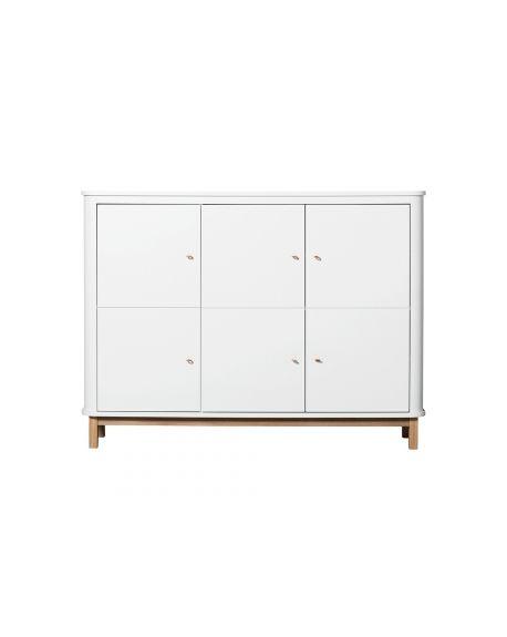 Oliver Furniture - Armoire multi-rangement 3 portes - Blanc/Chêne