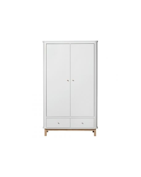 Oliver Furniture - Wood multi cupboard 3 doors - White/Oak