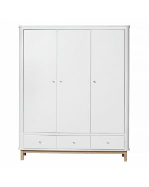 Oliver Furniture - Wood wardrobe 3 doors - White/Oak