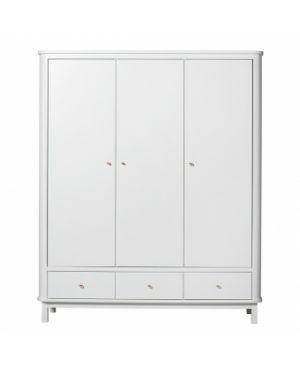 Oliver Furniture - Wood wardrobe 3 doors - White