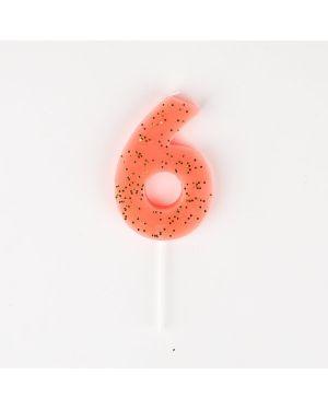 Meri Meri - 1 Sparkling Light Corail Number Candle - 6