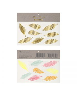 Meri Meri - Gold And Neon Feather Tattoos