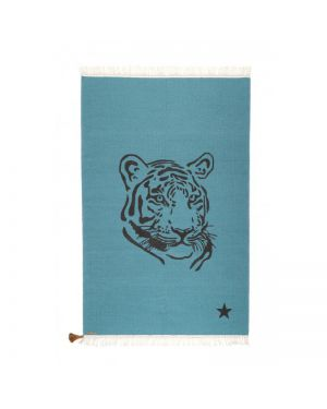 VARANASSI - Tapis Tigre Gypsy 150 X 200 cm - Bleu Canard
