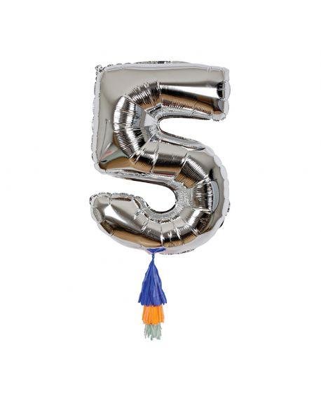 Meri Meri - Ballon chiffre 5 Argent et Pompons