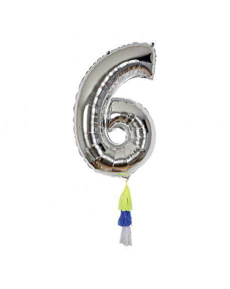 Meri Meri - Ballon chiffre 6 Argent et Pompons