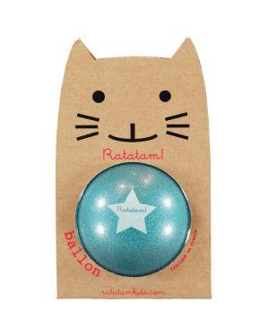 RATATAM - Ballon Bleu Paillettes - 25 cm