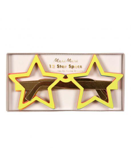 Meri meri - 12 Paires de Lunettes Lunettes Jazzy Star