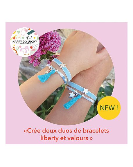 HAPPY GO LUCKY - Create two pairs of liberty and velvet bracelets DIY