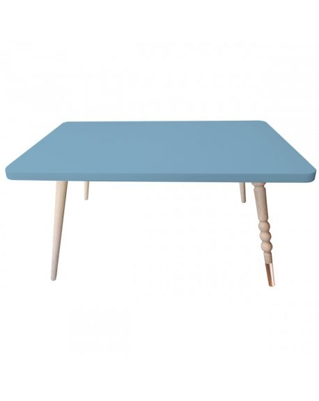 Jungle by jungle - Table Basse Rectangle Design My Lovely Ballerine - Hêtre - Bleu