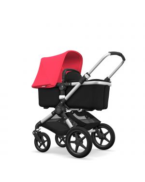 BUGABOO - FOX - Evolutive - Base ALU - Style set NOIR - Capote ROUGE NEON