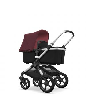 BUGABOO - FOX - Evolutive - Base ALU - Style set NOIR - Capote ROUGE RUBIS