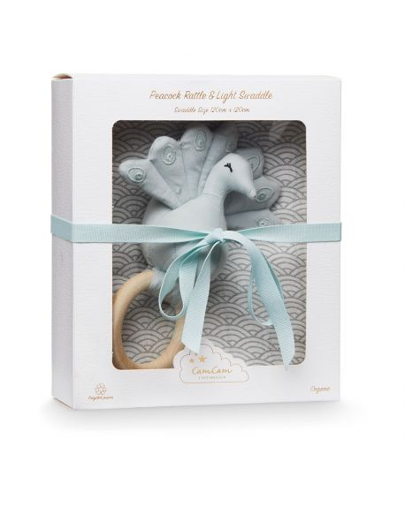 CAM CAM COPENHAGEN - Gift Box with Printed Swaddle and Peacock Rattle - Grey Wave