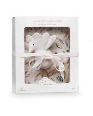 CAM CAM COPENHAGEN - Gift Box with Printed Swaddle and Peacock Rattle - Pressed Leaves Rose
