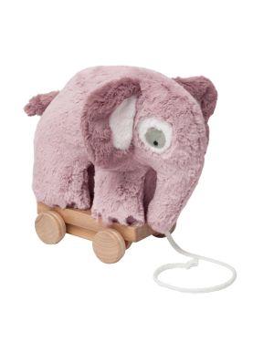 SEBRA - jouet en crochet à tirer - éléphant - rose
