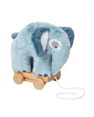 SEBRA - pull-along toy - Elephant - Cloud Blue