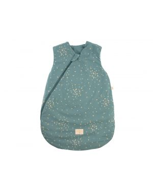 Nobodinoz - Cocoon sleeping bag - Honey Sweet Dots - Gold Confetti/ Magic Green